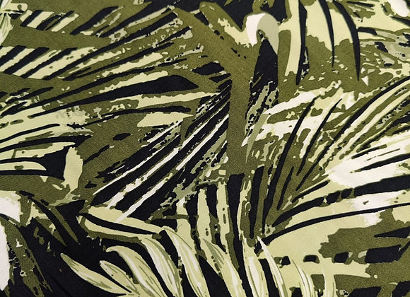 Khaki Palm Viscose Challis