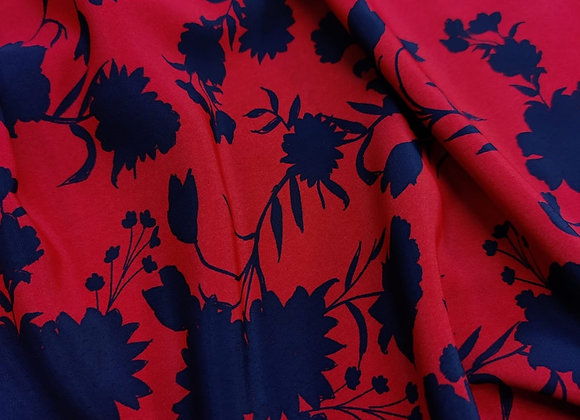 Red floral soft marrocaine - 3 Metre Piece