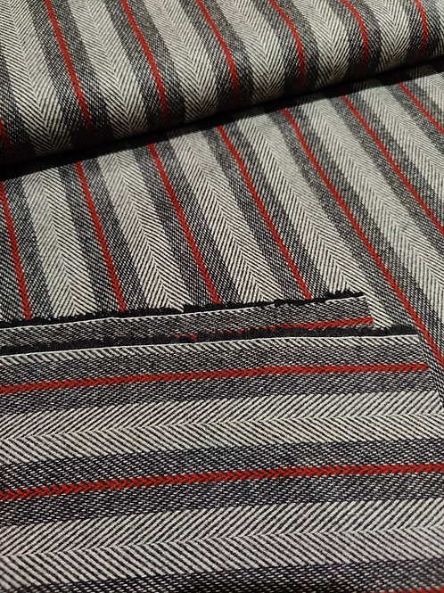 Grey/Red Striped 100% Wool