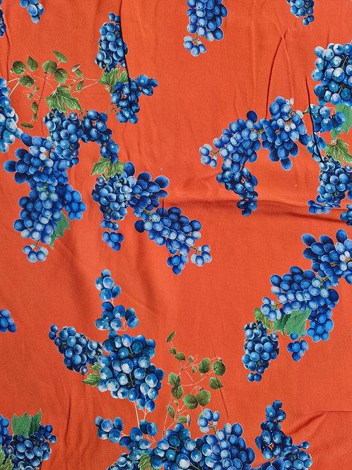 Blueberry Print Satin Backed Viscose Marocaine