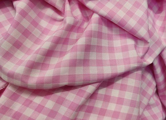 Pink Gingham Viscose - 2.75 metre piece