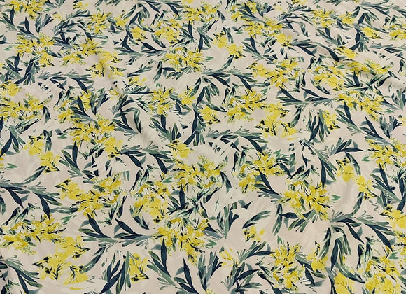 Yellow Bloom Floral Viscose Challis