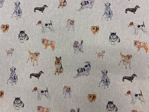 Dog Print Linen Look