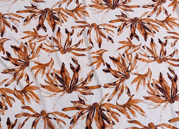 Orange Floral Viscose Challis - 3 metre piece