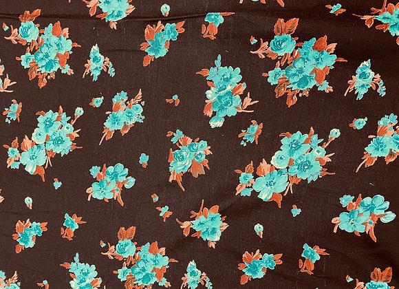 Turquoise Floral Linen Viscose