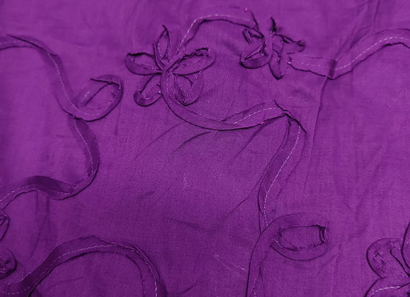 Floral Embroidered Purple Viscose Lawn - 3 Metre Pieces