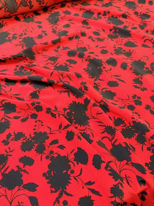 Red/Black Floral Viscose Crepe