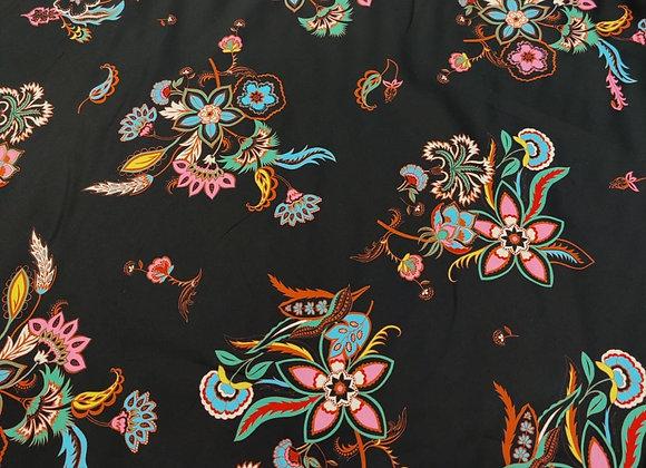 Black Floral Cotton Sateen