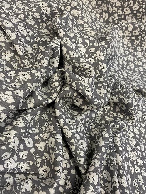 Grey Floral Print viscose - 1m