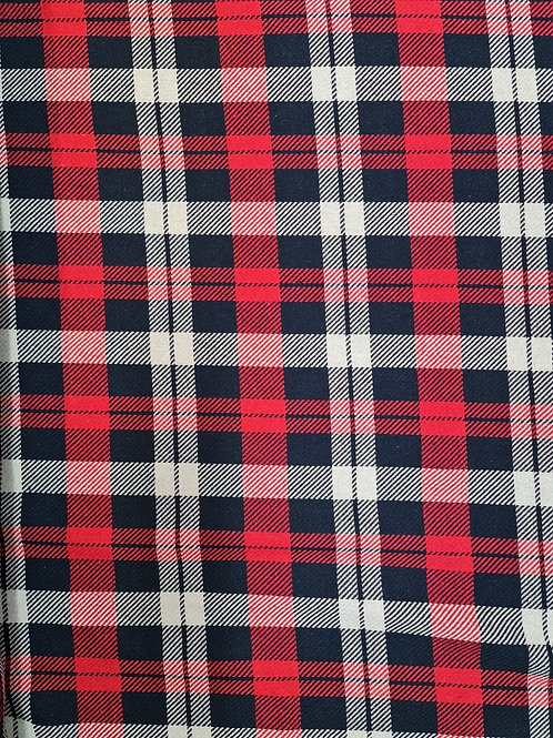 Red/Navy Checked Tartan Cotton Wool
