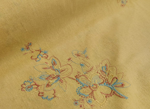 Yellow Embroidered Linen