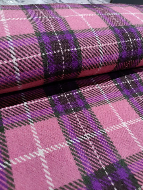 Pink/Purple Checked Mohair Wool