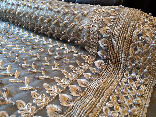 Charcoal Grey & Gold - Soft Net - Embroidery & Pearls Collection