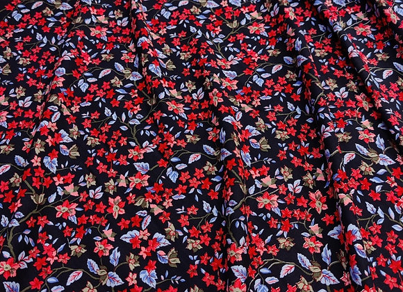 Red/Blue Floral Viscose Challis