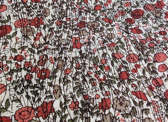 Red/Blush Stripe Floral Viscose