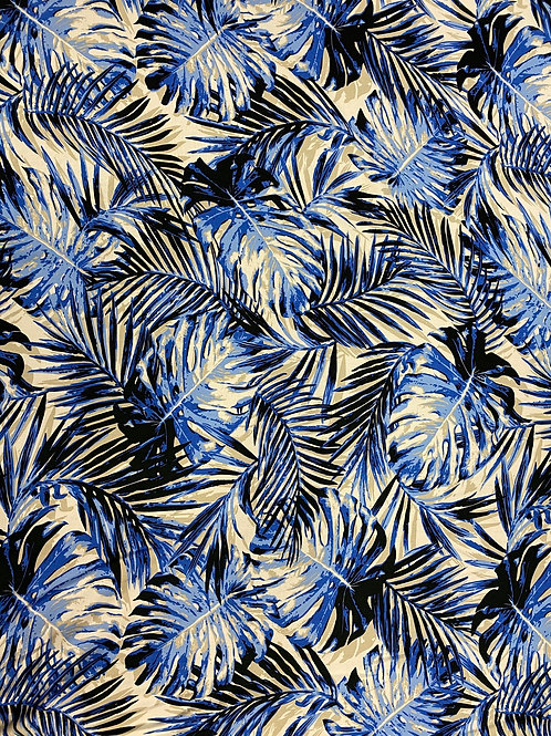 Blue Palm Leaves Viscose