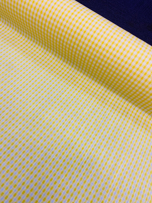 Yellow Gingham PolyCotton