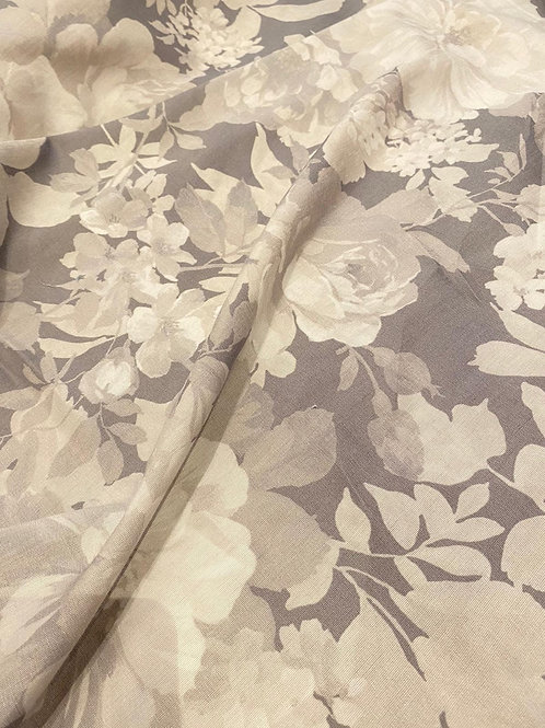 Grey/Beige Floral Viscose