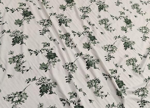 Green/Ivory Floral Viscose Challis