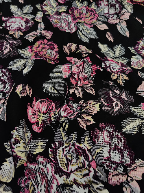 Black Digital Retro Floral Viscose Challis