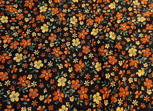 Rust Floral Viscose Twill - 3 metre piece