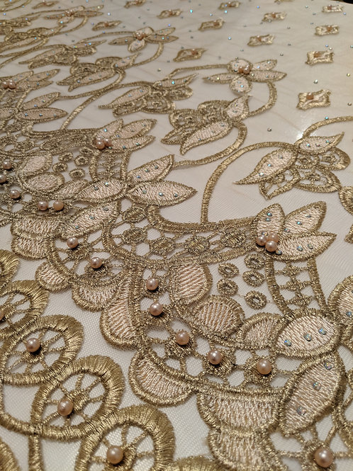 Gold Net with Gold Embroidery & Pearls