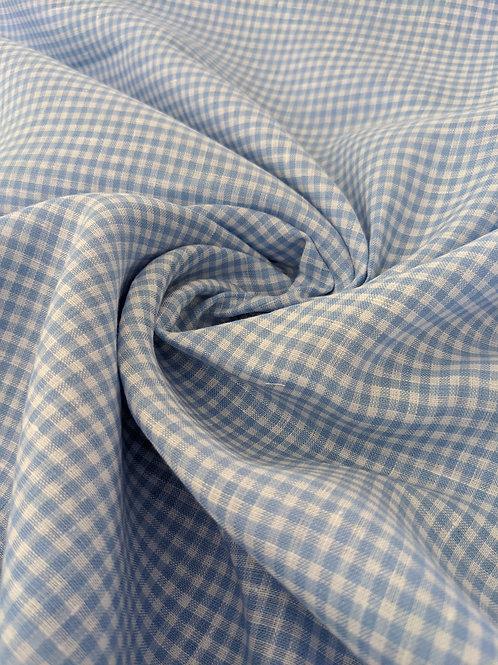 Blue Gingham 100% Irish Linen