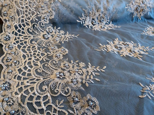Ivory Blue & Gold - Soft Net - Embroidery & Pearls Collection