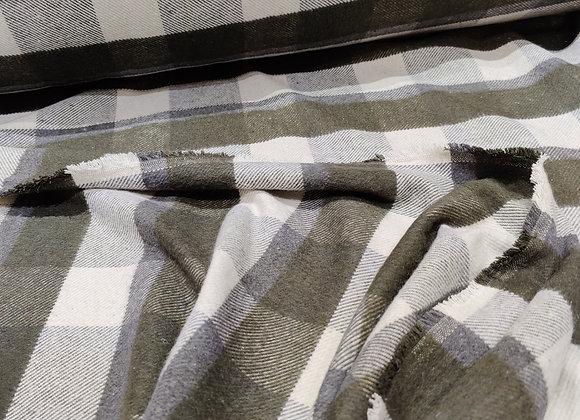 Khaki/Grey Buffalo Check Soft Cotton Wool