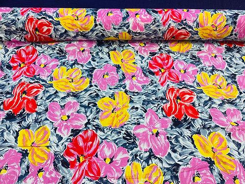 Grey Floral Watercolour 100% Cotton