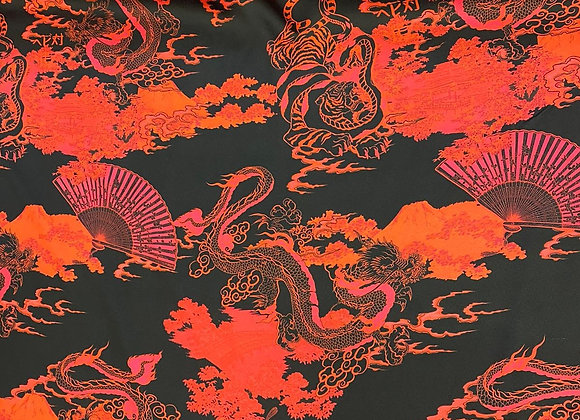 Oriental Print Poly Satin Crepe