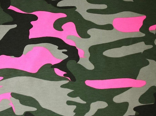 Flourescent Pink Camouflage Cotton Jersey