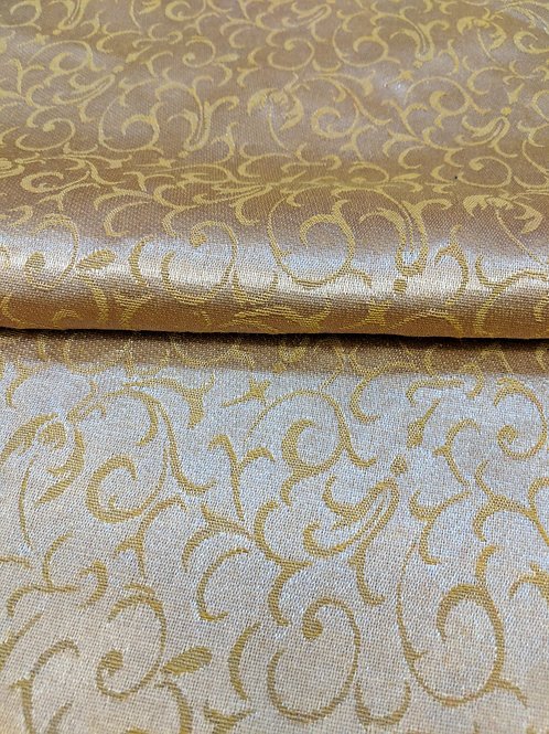 Gold Antique Print Upholstery Fabric