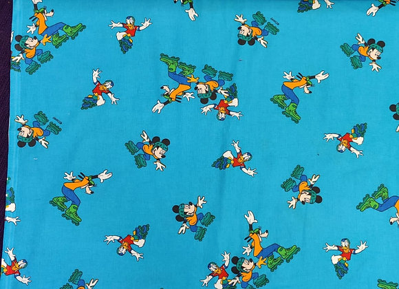Turquoise 100% Cotton - Donald/Mickey/ Goofy - 3 metre piece