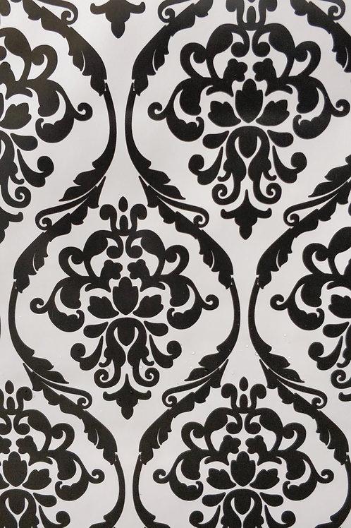 Damask Black & White PVC