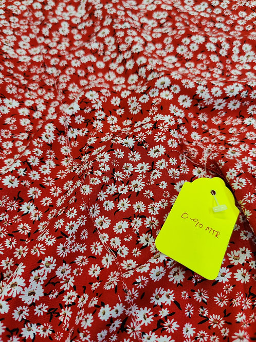 Red Floral Viscose - 0.90 metre