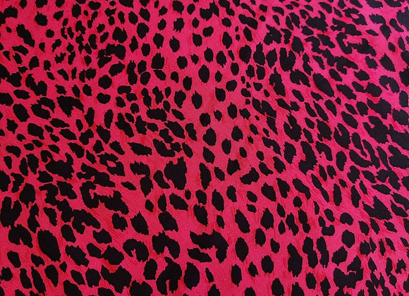 Fuchsia Pink/Red Leopard Viscose Challis