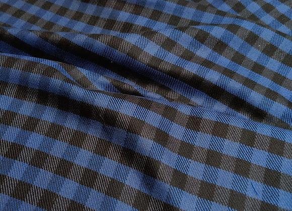 Blue Small Check 100% Merino Wool