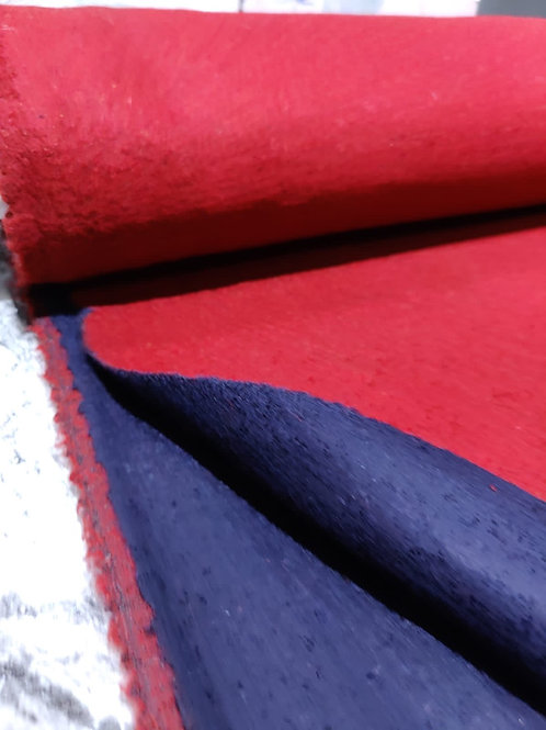 Navy/Red Double-Faced Wool