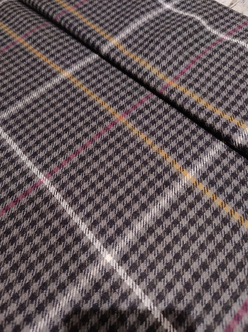 Grey Checked 100% Wool - 1.25m
