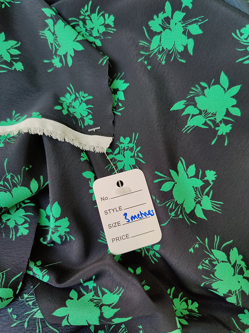 Green Floral Morrocaine/Crepe - 3 metres