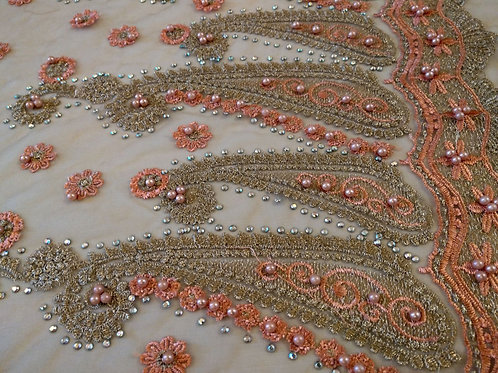 Coral Soft Net - Embroidery & Pearls Collection