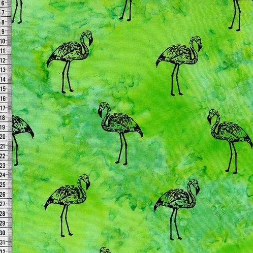 Lime Green Flamingo 100% Cotton