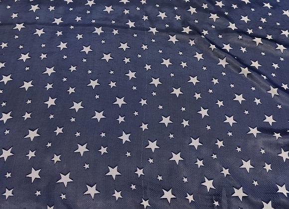 Navy Star Satin