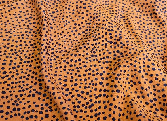 Mustard/Ochre Irregular Polka Dot Viscose Marocaine