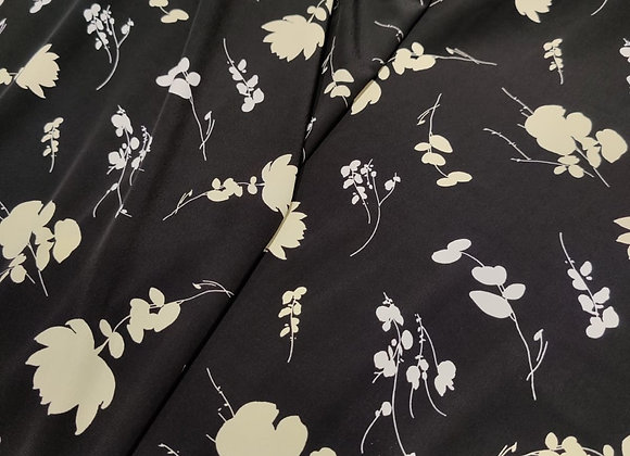 Black Scattered Flower Viscose Marocaine