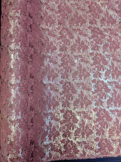 Floral Pink & Silver Metallic Upholstery Fabric