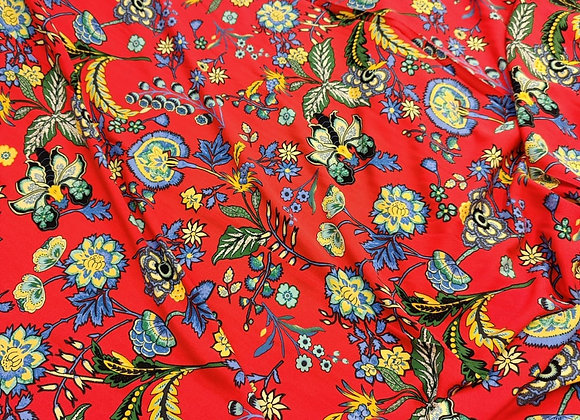 Red Floral Forest Viscose Challis
