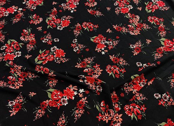 Black/Red Floral Viscose Challis