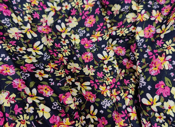 Pink Flower Party Viscose Challis - 1m piece